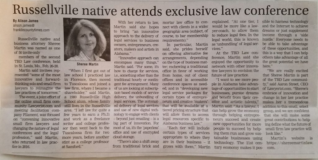 Sheree Martin, Franklin County Native, Attends Exclusive Law Conference, News Article from the Franklin County Times, Russellville Alabama about Sheree Martin of Sheree Martin Law